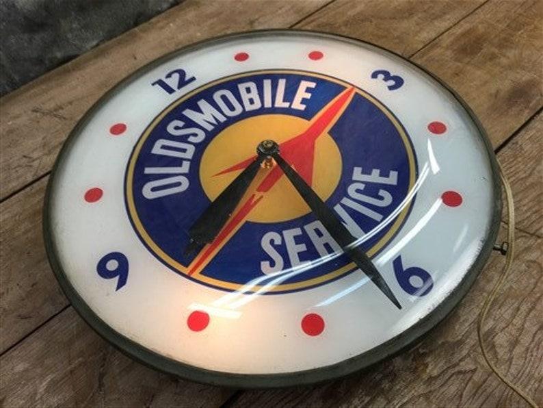 Oldsmobile Service Lighted Pam Horloge, signe publicitaire vintage, Bubble Glass, Horloge publicitaire, Horloge Pam, Horloge éclairée, Horloge vintage
