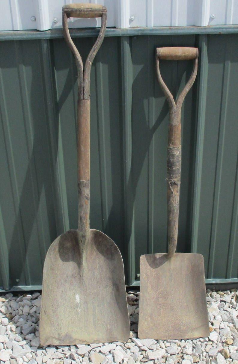2 pelles manche Vintage en en en bois boules ferme jardin outil charbon pique carreau t b5b148