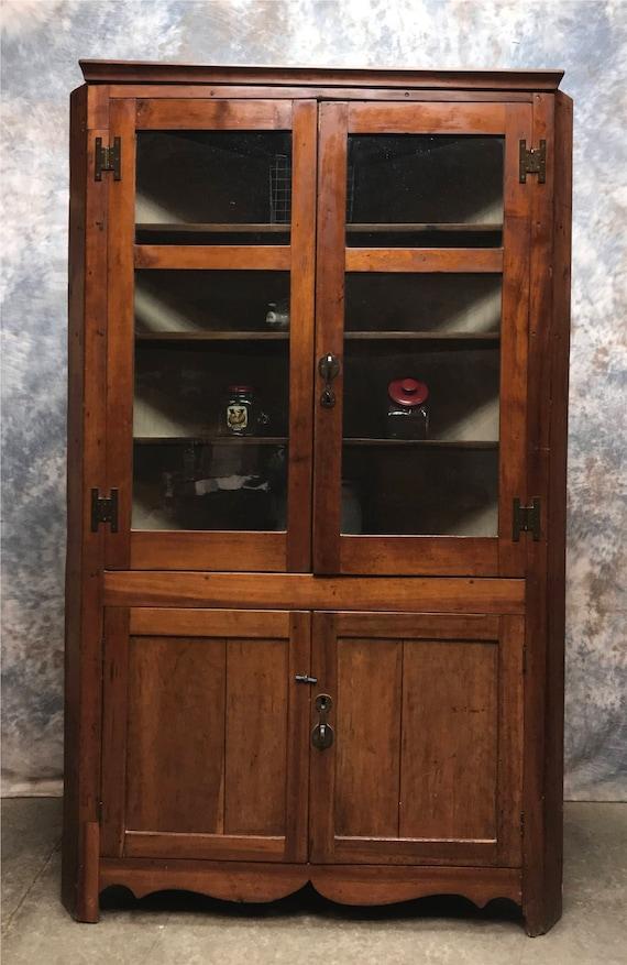 image 0 - Vintage Corner Cabinet With Doors Kitchen Hutch Cabinet Etsy