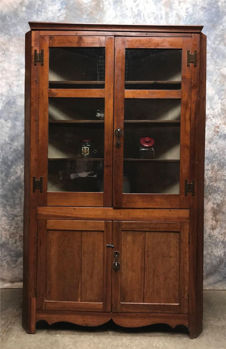 Vintage Corner Cabinet With Doors Kitchen Hutch Cabinet Etsy
