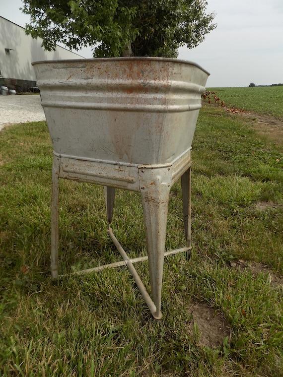 Wheeling Galvanized Single Wash Tub Sink Cooler Flower Pot Etsy