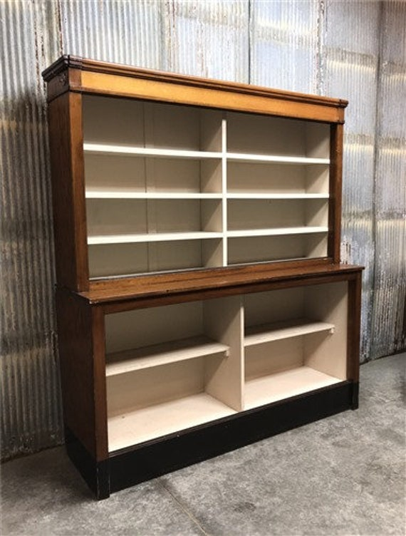 Vintage Lighted Display Cabinet, China Cabinet Hutch, Store Display Case  Shelves , Large Wood Bookcase, Kitchen Cabinet, Storage Cabinet Pan