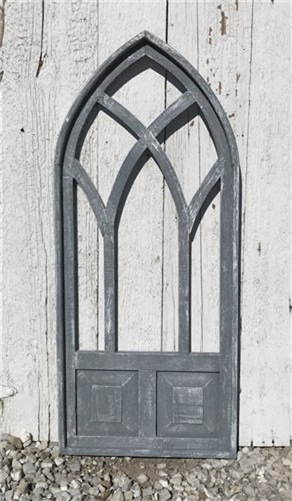 058b5730638 Arched Gray Cathedral Window Frame Rustic Gothic Church