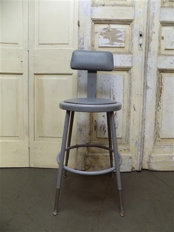 Stupendous Vintage Gray Industrial Metal Drafting Stool Adjustable Factory Shop Stool Chair Rustic Bar Stool Chair Steel Work Shop Stool With Back Machost Co Dining Chair Design Ideas Machostcouk