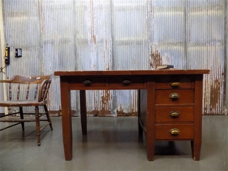 Vintage Wooden Desk with Drawers, Writing Desk, Teachers Desk Mid Century  Desk a Student Desk, Solid Wood, Knee Hole Desk, Computer Desk