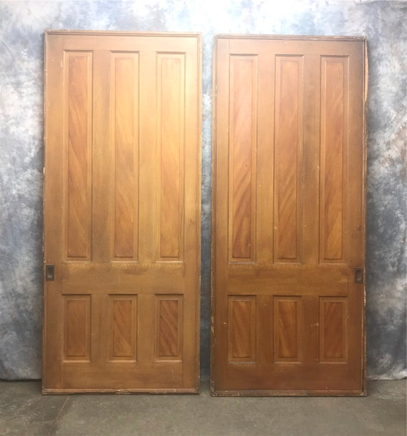 image 0 - Pair Antique Pocket Doors Solid Wood Pocket Double Doors Etsy