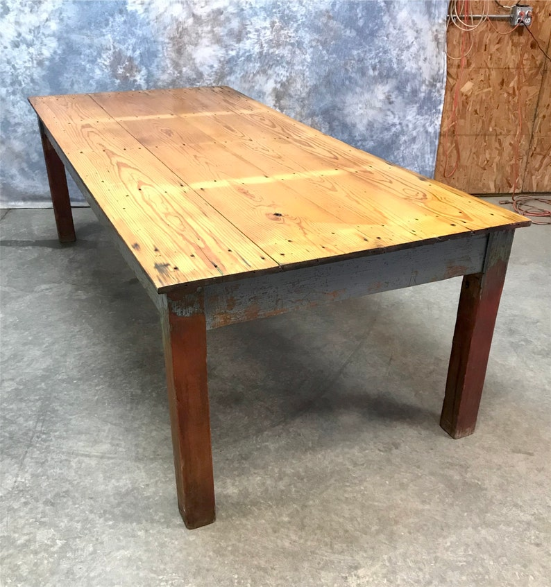 8 Antique Harvest Table Rustic Farmhouse Kitchen Dining Etsy
