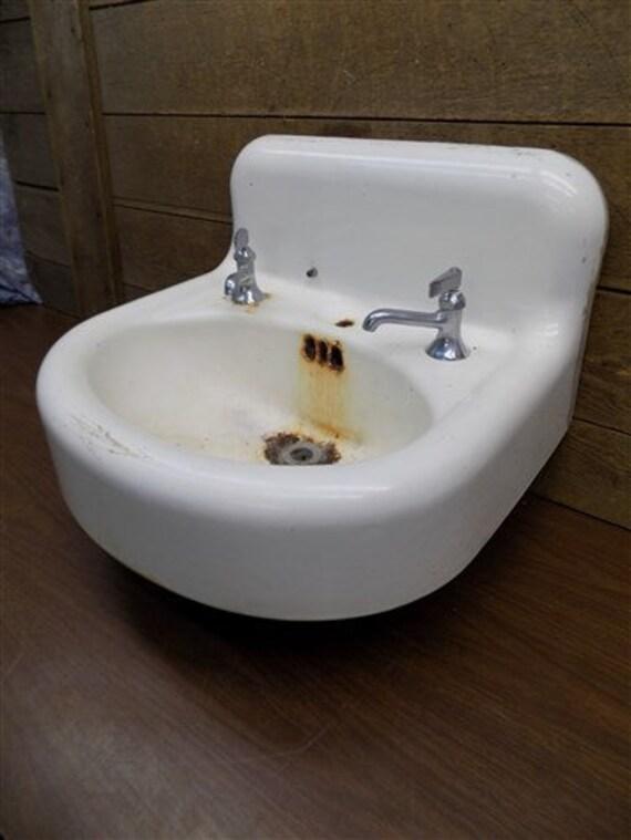 Antique Porcelain Bathroom Lavatory Kitchen Sink Cast Iron Farm Pantry  Doctor b, Architectural Salvage Vintage Porcelain Sink