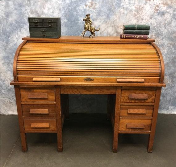 4 6 Vintage Oak Roll Top Desk Computer Desk Home Etsy