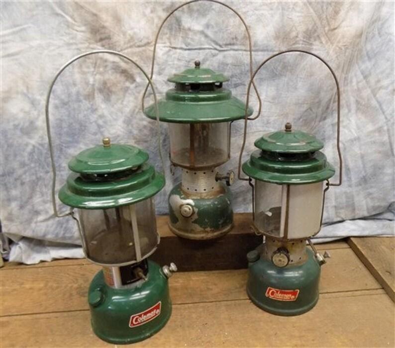 3 Coleman Propane Lanterns, 71 Model 220F, 78 Model 220J, Vintage Camping,  Vintage Hunting Cabin, Rustic Cabin Decor, Rustic Lighting