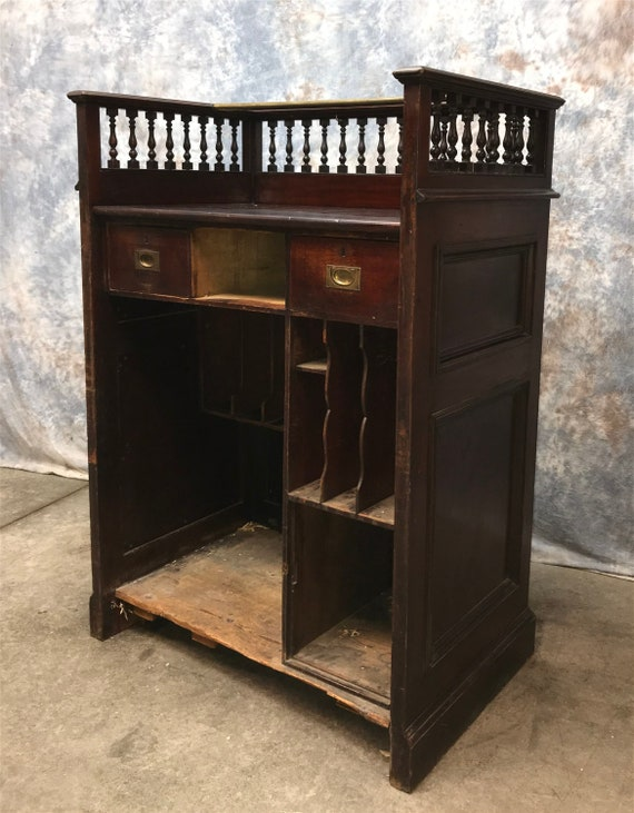 image 0 - Walnut Clerk's Desk Antique Standing Desk Writing Study Etsy