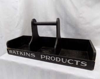 Watkins Gold Medal Vanilla Products Wooden Carrying Display Tray Vintage Sign, Wood Tray, Rustic, Farmhouse Decor