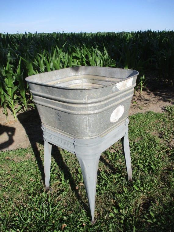 Wheeling Galvanized Single Wash Tub Beer Cooler Flower Pot Etsy