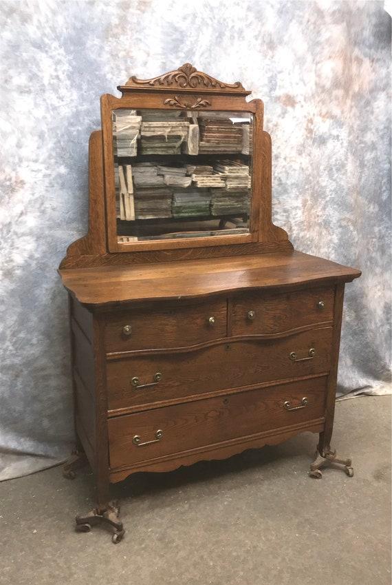Antique Victorian Oak Dresser With Mirror Serpentine Front Etsy
