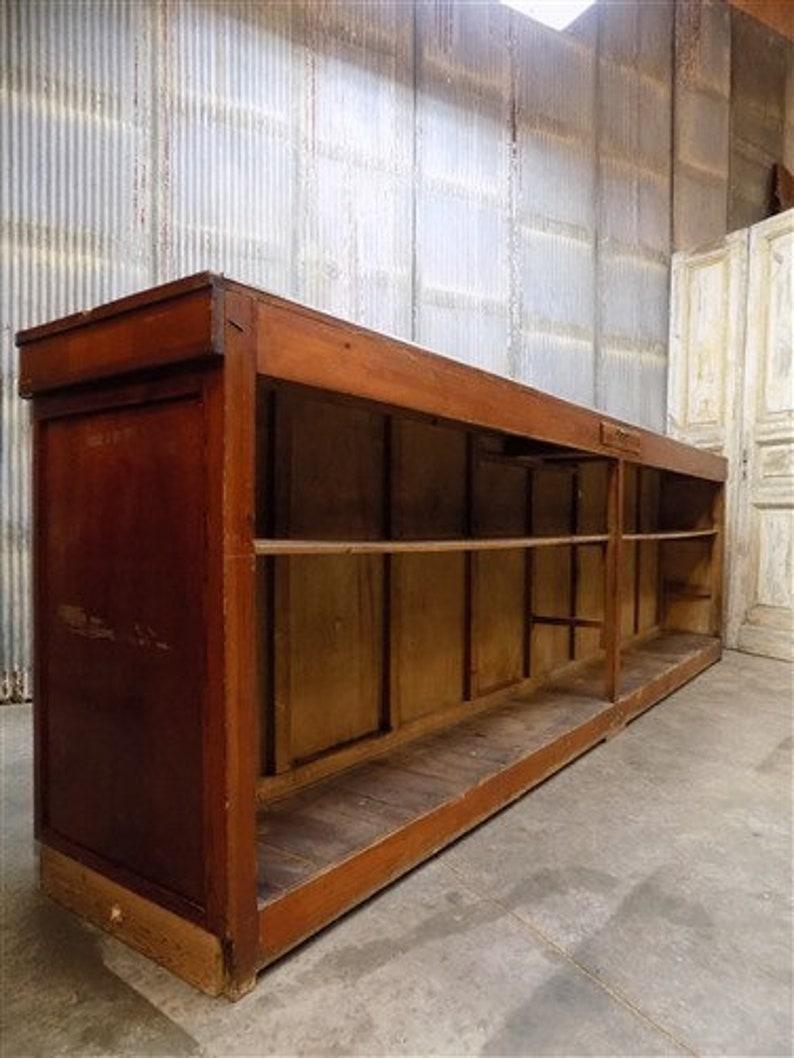 Vintage Bar Front Shop Cabinet Mercantile Shop Display Shelves Rustic Kitchen Island Counter 11/' Antique Vintage Store Counter Cabinet