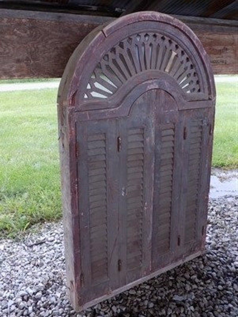 5 Vintage Window Frame With Shutter Doors Architectural Salvage Window Decor D French Shutter Wall Decor Salvaged Arch Shutter Door