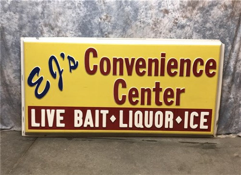 Vintage EJ's Convenience Store Advertising Sign, Plastic Embossed Store  Sign, Liquor Sign, Live Bait, Lighted Sign, Light Box Sign