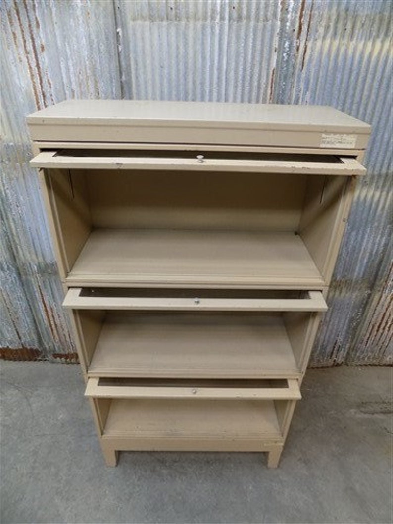 Vintage 3 Tier Metal Barrister Bookcase Mid Century Storage Cabinet Industrial Stacking Bookcase Cabinet A Lawyers