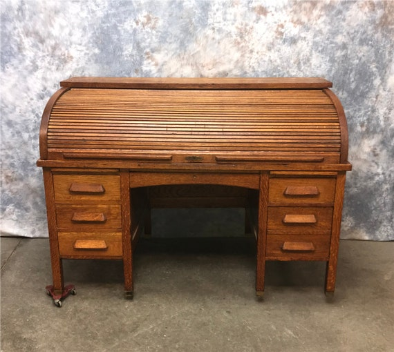 image 0 - 5' Oak Roll Top Desk Antique Rolltop Desk Wooden Office Etsy