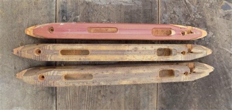 6 Wooden Weaving Loom Boat Shuttles Vintage Textile Mill Loom Part a Weaving Loom Vintage Shuttl Rustic D\u00e9cor Metal Tip Textile Mill