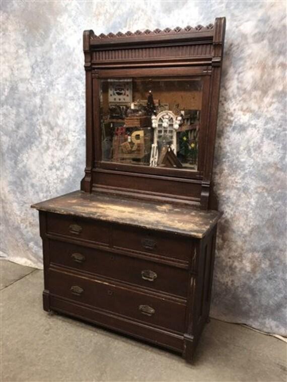 Antique Oak Eastlake Victorian Dresser with Mirror, Antique Furniture  Vanity, Vintage Vanity, Bedroom Dresser Chest, Dressing Table, Swivel