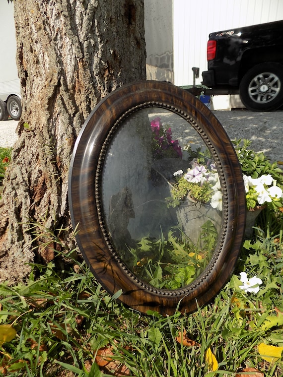 Wooden Oval Picture Frame Curved Bubble Glass Convex Vintage Etsy