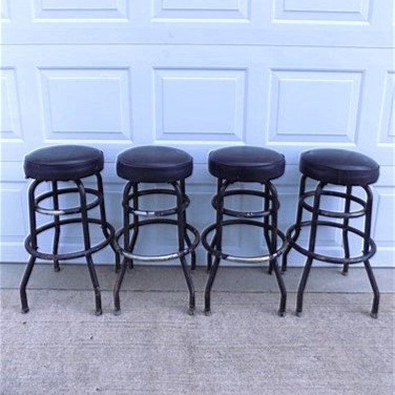 Astounding 4 Retro Bar Diner Stools Chrome Soda Fountain Store Mid Century 50S 60S 70S K Mid Century Stools Retro Stools Bar Stools Alphanode Cool Chair Designs And Ideas Alphanodeonline