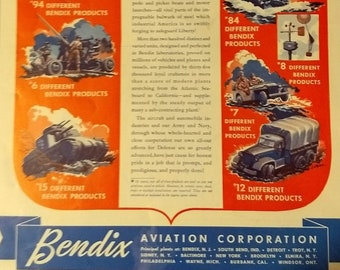 1942 Bendix Military Vehicles Ad World War II