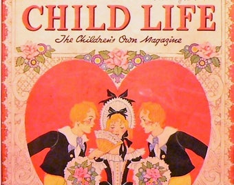 1939 Child Life Valentine Cover Matted Vintage Print