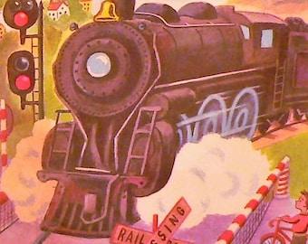 1953 Little Red Caboose Matted Vingtage Print Train Locomotive