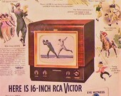 1949 RCA Victor TV Ad Matted Vintage 11x14 Print Television