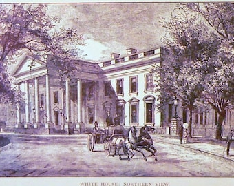 1890 White House Matted Antique Print