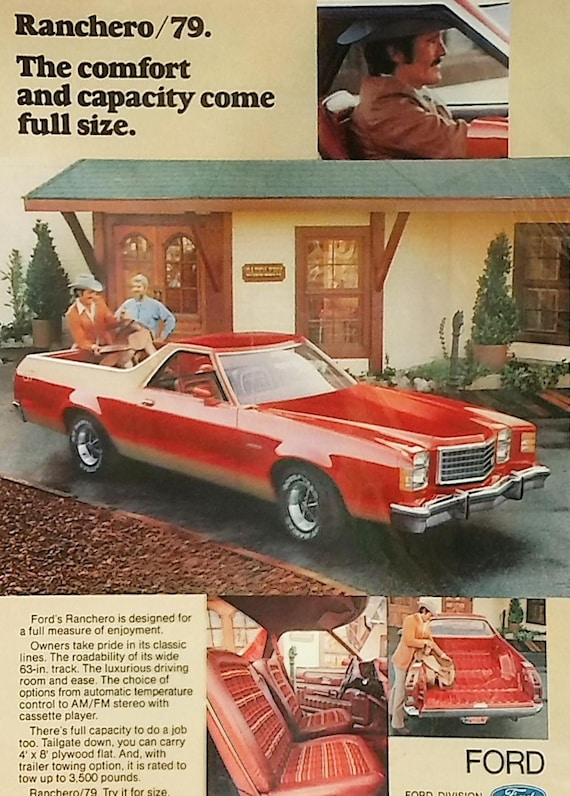 1979 Ford Ranchero Car Ad Matted Vintage 11x14 Print