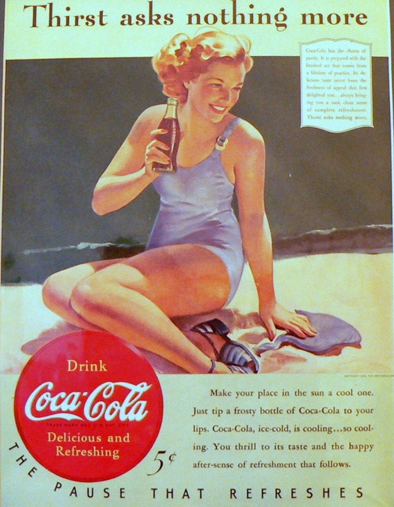 1940 Coca-Cola Ad Girl in Swimsuit Matted Vintage 11x14 Print