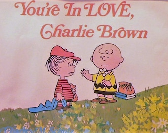 1968 You're In Love Charlie Brown Matted Vintage Print