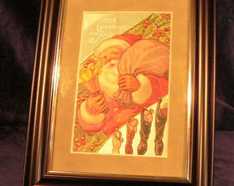 c1909 Framed Antique Santa Claus Christmas Postcard