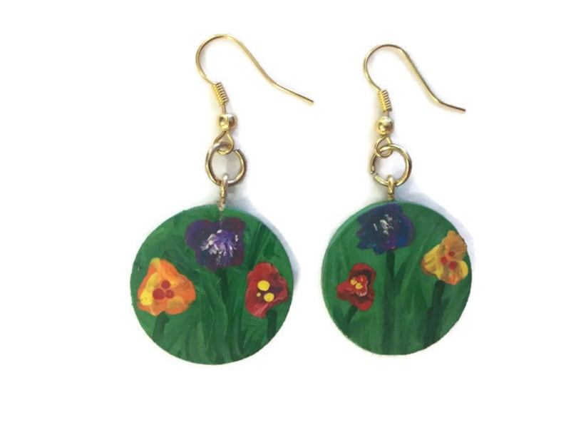 Hand painted earrings wooden circle earring gold green grass flowers purple yellow red