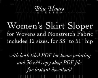 """Women's Woven Skirt Sloper, 33"""" to 51"""" Full Hip Sizes - PDF Format Tiled and Copyshop Files - Pattern Fitting and Drafting Aid"""