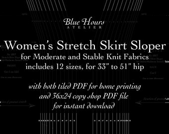 """Women's Stretch Skirt Sloper, 33"""" to 51"""" Full Hip Sizes - PDF Format Tiled and Copyshop Files - Pattern Fitting and Drafting Aid"""