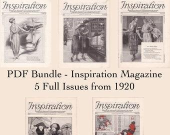 PDF Bundle - 1920 Inspiration Magazine - Five Issues - Woman's Institute Fashion Inspiration - PDF Download