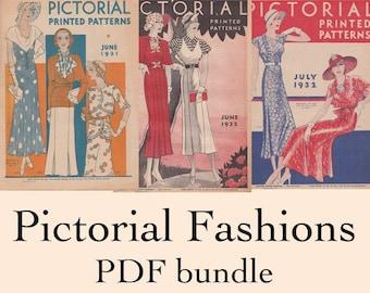 PDF Bundle - 1931 1932 Summer Fashions - Three Pictorial Pattern Catalogs of Art Deco Era Fashions - PDF Download