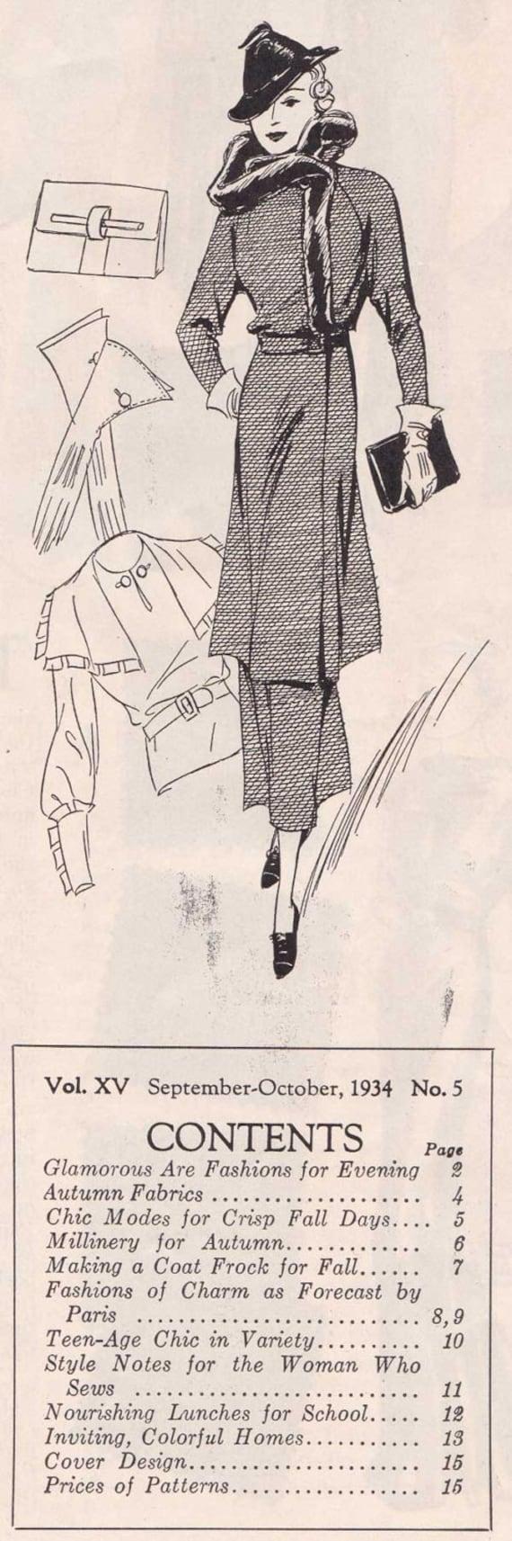 Pdf Reproduction 1934 September October Fashion Service Etsy