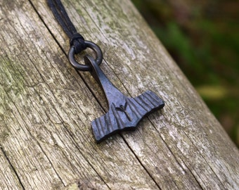 100/% reclaimed ironsteel Pendent Keychain Hand Forged Thor/'s Hammer with Custom Rune or 2 initals Necklace Amulet