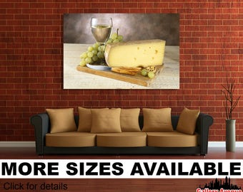 Wall Art Giclee Canvas Picture Print Gallery Wrap Ready To Hang Wine Glass  Cheese Board Grapes Walnut 60x40 48x32 36x24 24x16 18x12 3.2