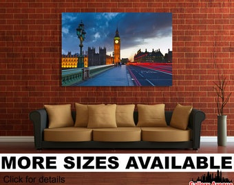 Wall Art Giclee Canvas Picture Print Gallery Wrap Ready to Hang Palace of Westminster London Big Ben 60x40 48x32 36x24 24x16 18x12 3.2