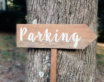 Parking Sign, Wedding Parking Sign, Wooden Parking Sign, Wedding Arrow Sign, Wooden Wedding Signs, Rustic Wedding Signs, Custom Wood Signs