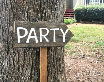 Party Sign, Rustic Party Signs, Rustic Party Decor, Custom Party Decorations, Wooden Arrow Sign, Directional Signs, Rustic Wood Signs