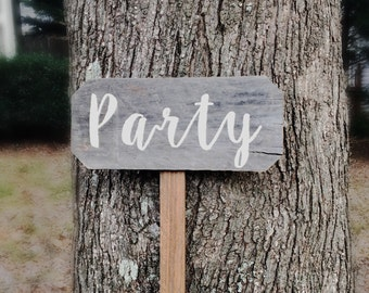 Party Sign, Rustic Party Signs, Rustic Party Decor, Custom Party Decorations, Wooden Yard Signs, Directional Signs, Arrow Sign, Yard Signs