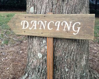 Dancing Signs Wood, Rustic Dancing Sign, Wooden Wedding Signs, Rustic Wedding Signs, Wedding Arrow Sign, Wooden Arrows, Rustic Wood Signs