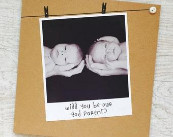 Handmade Personalised Card, God Parent, Godmother, Godfather, Polaroid Photograph, Recycled Kraft or Grey Card